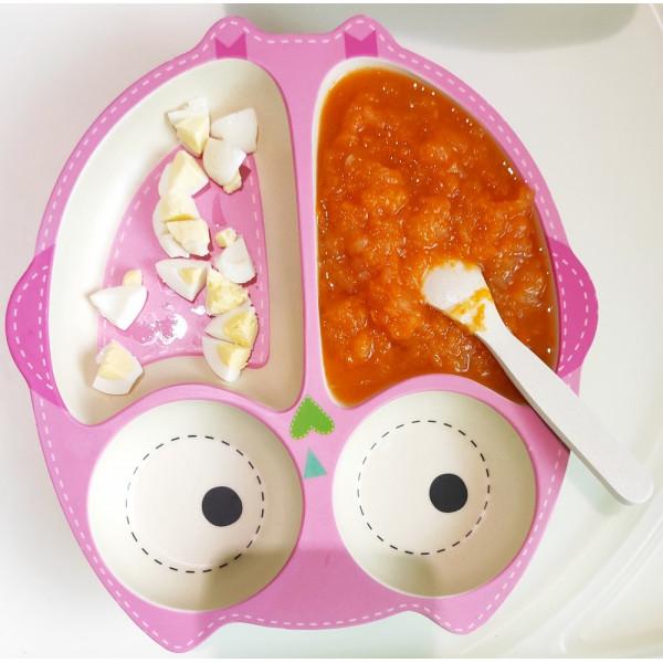 Яблочно-тыквенное пюре и вареные перепелиные яйца