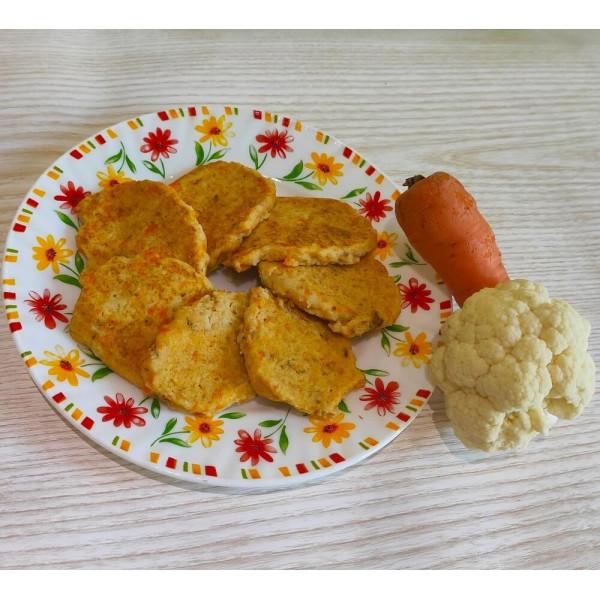 Оладьи из цветной капусты с морковью и мясом для детей после года