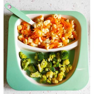 Брокколи и макароны тушеные с рыбой и овощами