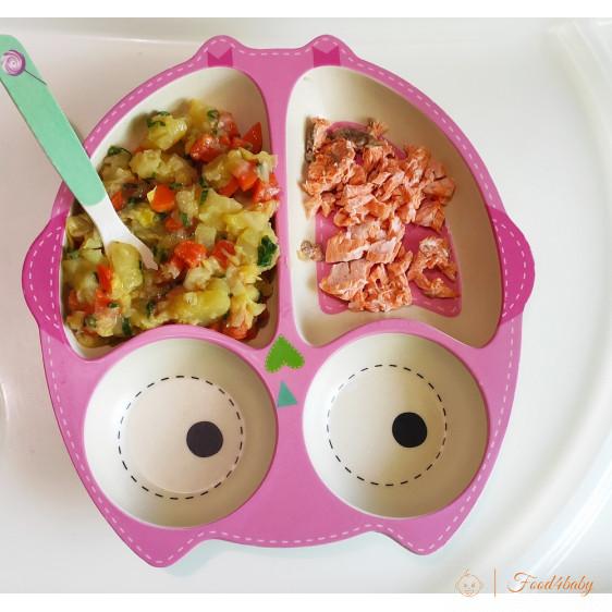 Тушковані овочі з сочевицею та рибка