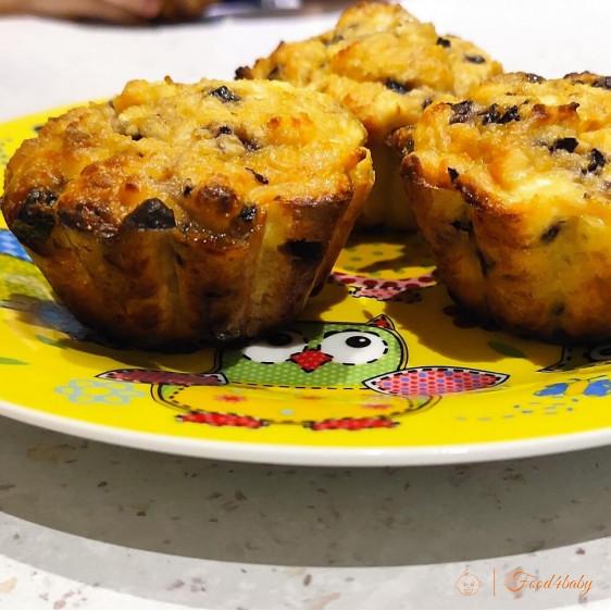 Творожные кексы с бананом и изюмом без сахара