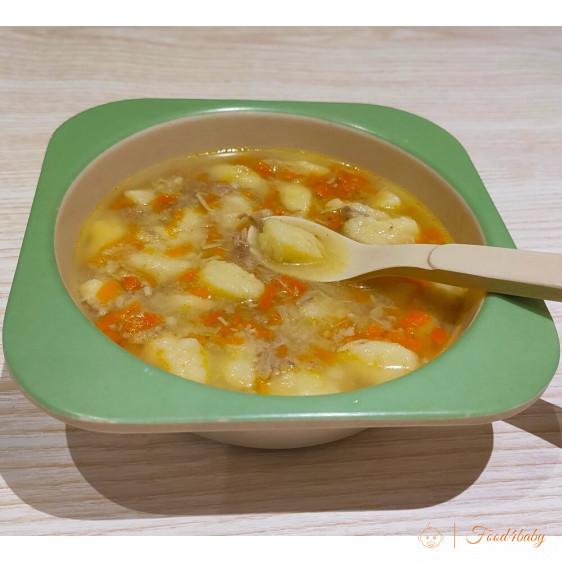 Суп с галушками или клецками из картофеля и рисовой муки для детей после года