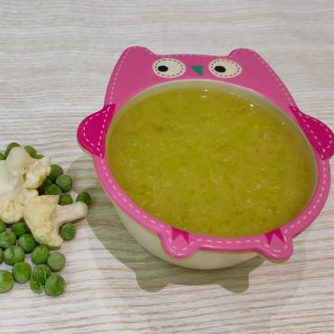 Суп-пюре з цвітною капустою та зеленим горошком