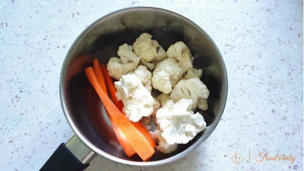 Запіканка з м'ясом, морквою та цвітною капустою