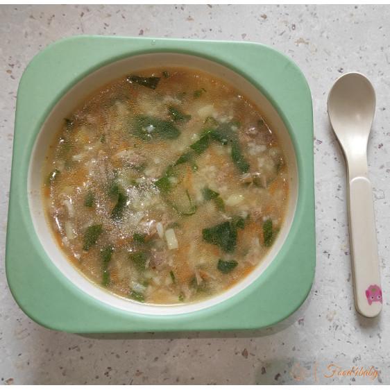 Рисовий суп з м'ясом та шпинатом